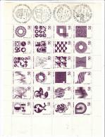 GRAFICA EFRANCOBOLLO 1970 - Foglio Con 24 Disegni Differenti Ed Annulli Della Provincia Dell´Aquila - Vignetten (Erinnophilie)