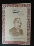 écrivain Writer Alain Mortagne Au Perche Orne  1993 - Encart Feuillet Sur Soie AMIS - Folder Printed On Silk - Ecrivains