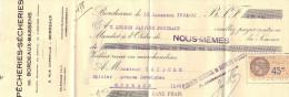 Lettre Change 15/12/1933 Pêcheries Sècheries De Bordeaux Bassens Gironde Pour Gourdon Lot - Timbre Fiscal - Bills Of Exchange