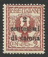 Austria, Italian Occupation, 2 C. On 2 C. 1919, Sc # N65, Mi # 2, MH - 8. WW I Occupation