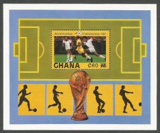 Ghana 1982 World Cup Football Soccer Spain New Values Overprint Michel Block 104 Mint - Ghana (1957-...)