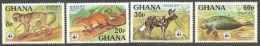 Ghana 1977  WWF Olive Colobus Monkey Ebien Palm Squirrel Wild Dog Manatee Michel 702A-705A Mint Set - Ghana (1957-...)