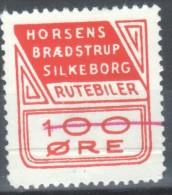 Denmark Local Railway Parcel Post, Horsens-Braedestrup-Silkeborg 100 Oere Rutebil (Bus Ticket)  UMM.Trains/Railways - Trains
