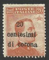 Austria, Italian Occupation, 20 C. On 20 C. 1919, Sc # N68, Mi # 5, MH - 8. WW I Occupation