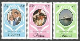 Ghana 1981 Royal Wedding Charles Diana Michel 892-4 Mint Set - Ghana (1957-...)