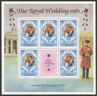 Ghana 1981 Royal Wedding Charles Diana Michel 895-7 Mint Three Blocks Of 5 Stamps - Ghana (1957-...)