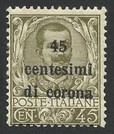 Austria, Italian Occupation, 45 C. On 45 C. 1919, Sc # N71, Mi # 8, MH - 8. WW I Occupation