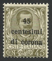 Austria, Italian Occupation, 45 C. On 45 C. 1919, Sc # N71, Mi # 8, MH - Venezia Giulia