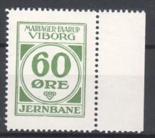 Denmark Local Railway Parcel Post, Mariager-Faarup-Viborg 60 Oere .MNH.Railways/Trains /Eisenbahnmarken . - Trains