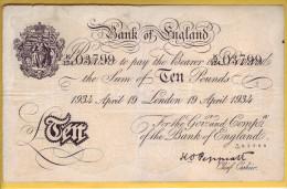 ROYAUME UNI - GRANDE BRETAGNE - Billet De 10 Pounds. 19-04-34. Pick: 336. TTB+ - …-1952 : Before Elizabeth II