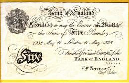 ROYAUME UNI - GRANDE BRETAGNE - Billet De 5 Pounds. 11-05-38. Pick: 335a. SUP - …-1952 : Before Elizabeth II