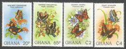 Ghana 1982 Precis Papilio Antanartia Charaxes Butterfly Michel 928-31 Mint Set - Vlinders