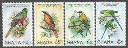 Ghana 1981 Trogon Robin Bee-eater Parakeet Michel 872A-75A Mint Set - Zangvogels