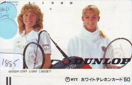 Télécarte Japon * Sport * TENNIS (1885) STEFFI GRAF + C. BASSETT  * FRONTBAR * PHONECARD JAPAN * TELEFONKARTE - Sport