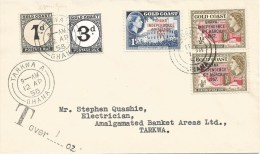 Ghana 1958 Aboso A Underfranked Taxed Cover With Gold Coast Postage Due Stamps Michel 2 & 6 - Ghana (1957-...)