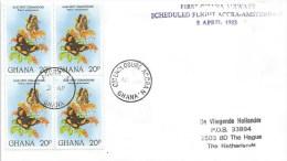 Ghana 1983 Accra A O/C Enclosure Accra N Precis Butterfly Ghana Airways First Flight FFC Cover Postponed One Week - Ghana (1957-...)