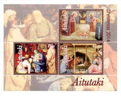 ait1404s1 Aitutaki 2014 Christmas Paintings of Nativity s/s