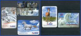 RUSSIA 2014 Pocket Small Calendars HORSES And RABBIT 5 PIECES - Calendars