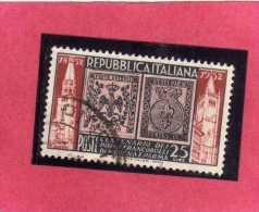 ITALIA REPUBBLICA ITALY REPUBLIC 1952 MODENA E PARMA CENTANARIO PRIMI FRANCOBOLLI LIRE 25 USATO USED OBLITERE´ - 6. 1946-.. Repubblica