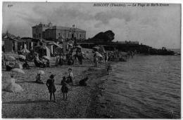 Roscoff Finistère Plage Animée Roc´h Kroum 1910 état Superbe - Roscoff
