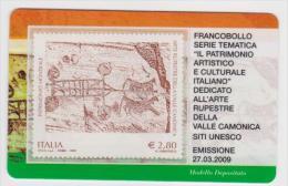 """2009 - ITALIA -  TESSERA FILATELICA   """"ARTE RUPESTRE DELLA VALLE CAMONICA"""" - 1946-.. République"""