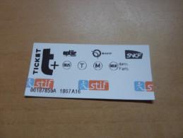 "Ticket De Transport (métro, Bus, Train, Tramway) Stif PARIS(75) ""standard"" Type 2 - Europe"