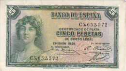 Certificado De Plata CINCO PESETAS De Curso Legal---EMISION 1935 / C5652572 / NEUF - 5 Pesetas