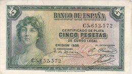 Certificado De Plata CINCO PESETAS De Curso Legal---EMISION 1935 / C5652572 / NEUF - [ 2] 1931-1936 : Republic