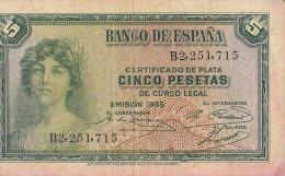 Certificado De Plata CINCO PESETAS De Curso Legal---EMISION 1935 / B2251715 / TTB - [ 2] 1931-1936 : République