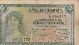 Certificado De Plata CINCO PESETAS De Curso Legal---EMISION 1935 / 9056633 - [ 2] 1931-1936 : Republiek