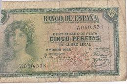 Certificado De Plata CINCO PESETAS De Curso Legal---EMISION 1935 / 7060538 - [ 2] 1931-1936 : Republiek