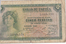 Certificado De Plata CINCO PESETAS De Curso Legal---EMISION 1935 / 7060538 - [ 2] 1931-1936 : République