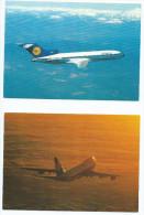 AVIATION-  Avion LUFTHANSA   Lot De 2 Cartes Scan R/V Des 2 Cartes (Boeing B 727 B 747)*PRIX FIXE - 1946-....: Moderne