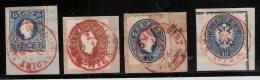 Österreich, 4 Briefstücke 1858 - 64, Rote Stempel! Gute Erhaltung , #1308 - 1850-1918 Empire
