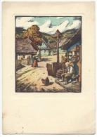 11181 - Ceskoslovenské Umeni Orevorytova Malba Scène Villageoise (Format 10 X 15) - Peintures & Tableaux