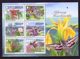 2011 aurigny neuf ** bloc n� 27 faune : insecte : papillon de nuit : sphinx : fleur