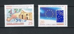 1995 chypre neuf ** n� 863/64 carte et drapeau de l'europe