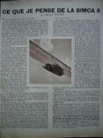 - Article De Presse - Régionalisme - Automobile - Simca 8 -1938 - 1 Pages - Maurice Philippe - - Documents Historiques