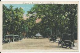 GEORGIA ENTRANCE TO FORSYTHE PARK SAVANNAH GA 39 CARTE NEUVE VOITURE ANCIENNES - Savannah