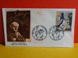 FDC- Les Mariés De La Tour Eiffel, Marc Chagall- Paris - 9.11.1963 - 1er Jour, Cote 7,50 € - FDC