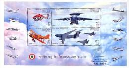 2007 INDE neuf ** bloc n� 47 militaire : arm�e de l'air : h�licopt�re : avion radar et de chasse : biplan