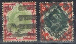 Dos Sellos Edward VII, 1 Sh Gran Bretaña, Variedad Color Num 117 -117a º - 1902-1951 (Re)