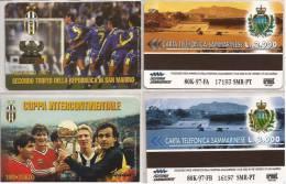 2 SCHEDE TELEFONICHE SAN MARINO 100 ANNI JUVENTUS NUOVE 1997 CALCIO - San Marino