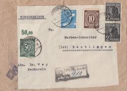 Gemeina. R-Brief Mif Minr.918,932 OR,2x 943,950 Not-R-Stempel Neckarelz 14.11.47 - Gemeinschaftsausgaben