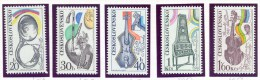 CZECHOSLOVAKIA. 1974 Mi 2203-7 (Yv 2048-52), Music Musical Instruments MNH** - Tchécoslovaquie