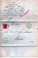 ANTICO PIEGO POSTALE- BUSTO ARSIZIO-30-7-1881-ANNULLO A BARRE 3556 - Marcophilia