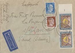 DR Brief Luftpost Mif Minr.782,791,2x 828 Dresden 15.1.43 Gel. In Schweiz Zensur - Alemania