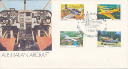 Australia FDC Australian Air Craft Complete Set Of 4 Stamps George Town Tasmania 19-11-1980 With Cachet - Airplanes