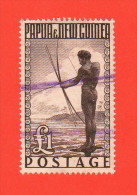PNG SC #136 U  1952 Spear Fishing W/short Perf @TL, CV $20.00 - Papua New Guinea
