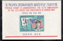 Korea South MNH Scott #477a Imperf Souvenir Sheet 10w MacArthur, Flags Of Korea, UN, USA - Corée Du Sud
